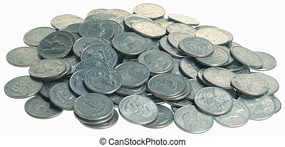 Pile Of Quarters Coins On Isolated White Background, Lit...