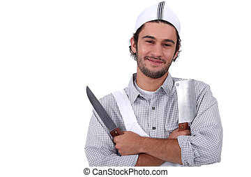 Butcher with two knives