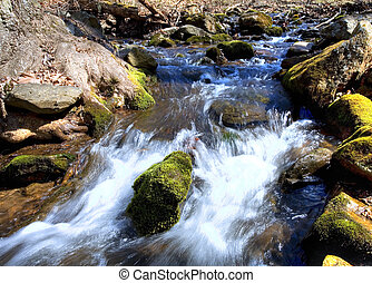 Runoff - Water running down a stream in early spring in...