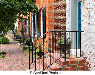 Street scene in Frederick Maryland - Red brick georgian...