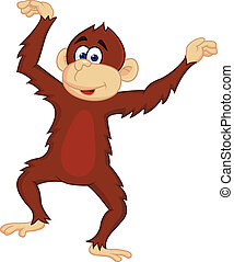 Funny monkey dancing - vector illustration of Funny monkey...