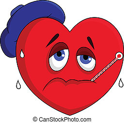Sick heart character - vector illustration of Sick heart...
