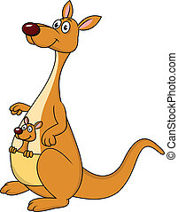 Kangaroo cartoon with baby - vector illustration of Kangaroo...