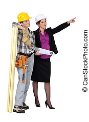 a female carpenter and her manager