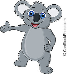Happy koala cartoon waving hand