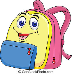 School bag cartoon character - Vector illustration of School...