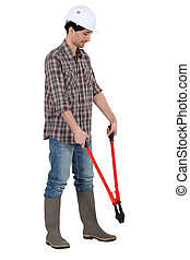 Man with tongs