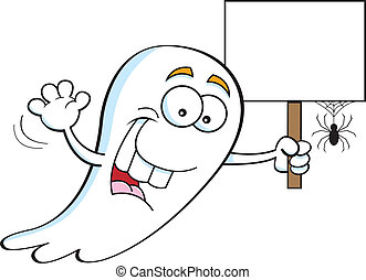 Ghost holding a sign - Cartoon illustration of a ghost...