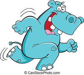 Running hippopotamus - Cartoon illustration of a running...