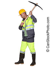 Laborer using pickaxe on white background