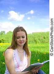 young girl read book