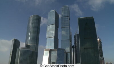 View on moscow cityscape of business center in winter russia