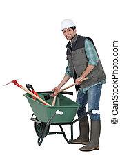 trabalhador, carrinho de mão