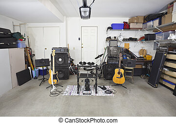 Garage Band Music Equipment - Rock band music equipment in a...