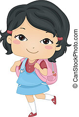 Asian Schoolgirl - Illustration of an Asian Schoolgirl...