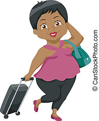 Senior Travel - Illustration of an Elderly Female Traveler...
