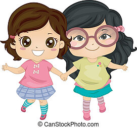 Asian Bestfriends - Illustration of Asian Girls Holding...