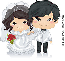 Asian Wedding - Illustration of a Young Asian Couple Wearing...