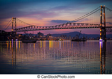 Hercilio Luz Bridge at Sunset - The Hercilio Luz Bridge, in...