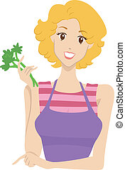 Cooking Blog Header - Header Illustration Featuring a Woman...