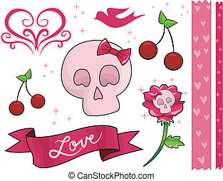 Skeleton Love - Border Illustration with a Skeleton Theme