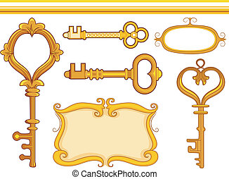 Vintage Keys - Border Illustration Featuring Vintage Keys