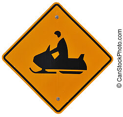 Snowmobile Crossing isolated road sign
