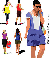 Collection of young women silhouette are walking on the...