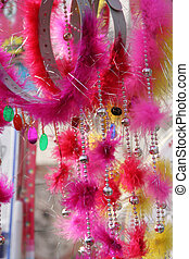 Beads, Bangles Feathers - Beads, bangles and feathers,...