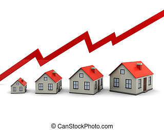 Graph and houses - Red graph and houses: growth in real...
