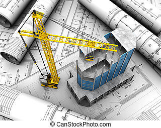 Building layout - Above view of new modern building with...