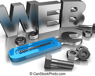 Technology development - 3d of web, screws, bolts and wrench...
