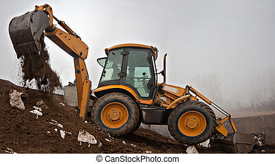 Loader - Wheel loader Excavator with backhoe digging trench...
