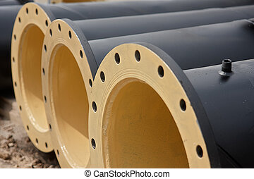 flanged pipe - Flanged pipes painted inside and out