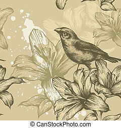 Seamless background with birds and flowering lilies,...