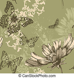 Seamless floral background with fly
