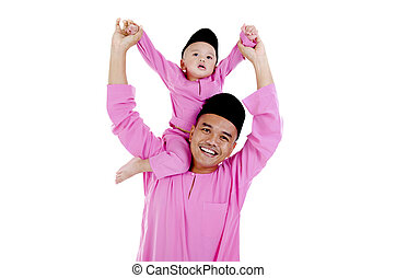 malay father and son - happy malay father and son, in...