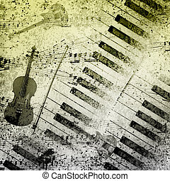 Music notes background - paper background with note sings on...