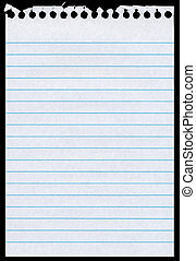 White lined blank torn notepaper page isolated black...