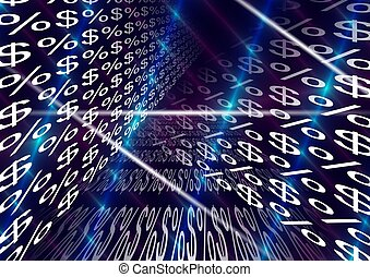 dollar percentage - an abstract illustration of symbols of...