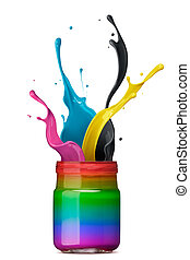 colorful ink splashing - bottle of rainbow color ink with...