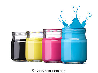 cmyk ink - bottles of ink in cmyk colors, cyan with splash