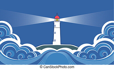 Lighthouse with blue seaVector symbol card