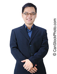 Young good looking asian business man on a white background isolated