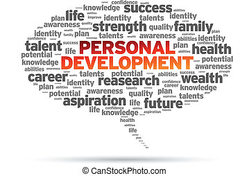 Personal Development word speech bubble on white background.
