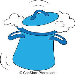 ENGRAÇADO, azul, pote, Cozinhar, loucos