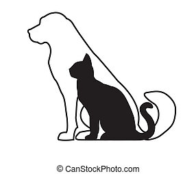 White dog and black cat isolated on white