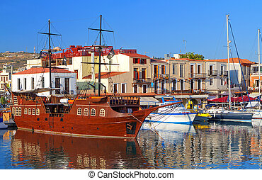 Rethymno city at Crete island in Greece The old venetian...
