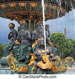 Fountain in Paris - Fountain at Place de la Concorde Eiffel...