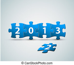 New Year 2013 card made from puzzle pieces vector...